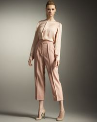 Stella McCartney | Pink Pleated Cropped Pants | Lyst