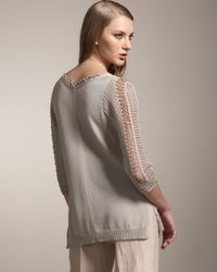 TSE | Gray Crochet-trim Sweater | Lyst