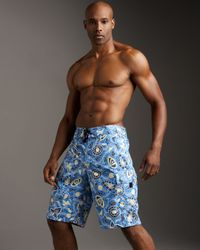 Zegna Sport | Blue Floral-print Board Shorts for Men | Lyst