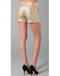 Alice + Olivia - Metallic Cady Cuff Shorts - Lyst