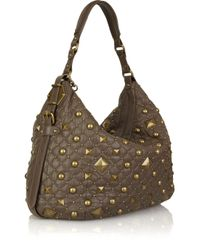 DKNY | Brown Studded Leather Shoulder Bag | Lyst