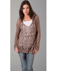 Free People | Brown Pacifica Crochet Hooded Sweater | Lyst