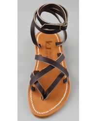 K. Jacques | Brown Zenobie Strappy Thong Sandals | Lyst