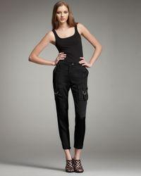 Roberto Cavalli | Black Silk Cargo Pants | Lyst