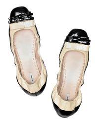 Miu Miu - Black Patent-leather Ballerina Flats - Lyst