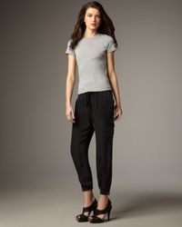 7 For All Mankind - Black Washed Silk Drawstring Cargo Pants - Lyst