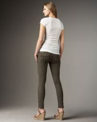 7 For All Mankind | Green Featherweight Twill Skinny Jeans, New Olive | Lyst