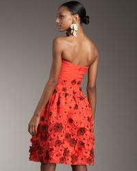 Oscar de la Renta | Red Flower-applique Dance Dress | Lyst