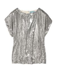 Alice + Olivia | Metallic Keren Sequined Silk Top | Lyst