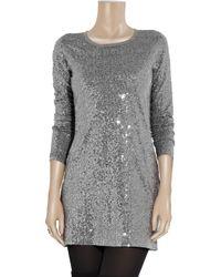 DKNY Metallic Sequin-embellished T-shirt Dress