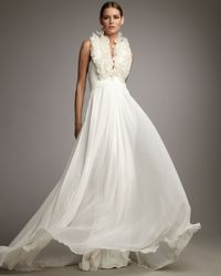 Notte by Marchesa | White Ruffle-neck Halter Gown | Lyst