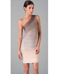 Hervé Léger | Multicolor Ombre One Shoulder Dress | Lyst