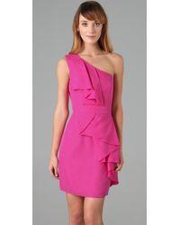Shoshanna - Pink Cascade Ruffle Dress - Lyst