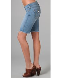 True Religion - Blue Natalie Knee Length Shorts - Lyst