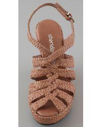 Sheridan Mia - Brown Wishbone Cutout Wedge Sandals - Lyst