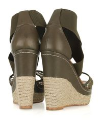 Paloma Barceló | Green Amalaga Mesh and Leather Espadrille Wedges | Lyst