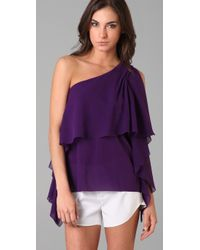 Alice + Olivia - Purple Lana One-shoulder Ruffle Top - Lyst