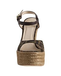 Fendi - Brown Tobacco Zucca Canvas Ankle Strap Wedge Espadrilles - Lyst