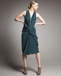 Alexander Wang | Green Draped Zipper Dress | Lyst