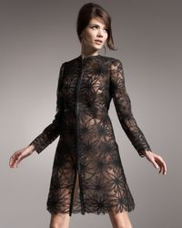 Valentino | Black Crinoline Embroidered Lace Coat | Lyst