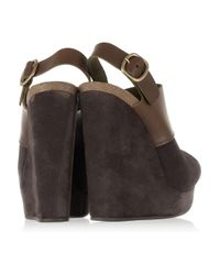 Pedro Garcia | Brown Chabela Suede and Leather Wedge Sandals | Lyst
