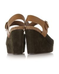 Pedro Garcia | Brown Marnie Suede and Leather Wedge Sandals | Lyst