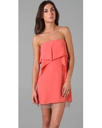 BCBGMAXAZRIA | Orange Fei Fei Strapless Dress | Lyst