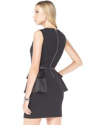 Michael Kors | Black Perforated Belted Dress | Lyst