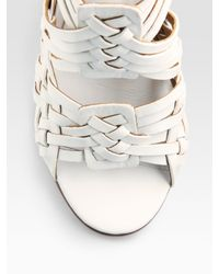 Tory Burch | White Tevray Woven Leather Wedge Sandals | Lyst