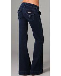 Hudson Jeans Blue Sadie Mid Rise Wide Leg Trouser