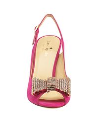 kate spade new york - Pink Crown - Fuschia Suede Slingback Embellished Pump - Lyst