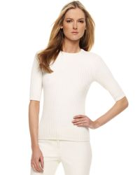 Michael Kors - Ribbed Knit Sweater, White - Lyst