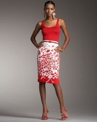 Oscar de la Renta - Painted Tiered Skirt - Lyst