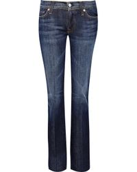 7 For All Mankind Blue B(air) Destroyed Skinny Ankle Jeans In Duchess