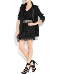 Adam Lippes Black Ostrich Feather Bead Embellished Mini Skirt
