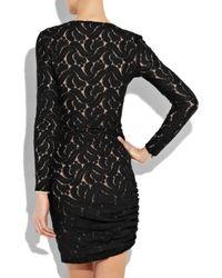 A.L.C. Black Scarlett Ruched Lace Mini Dress
