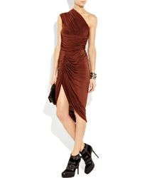 Alexander Wang Red One-shoulder Ruched Jersey Dress