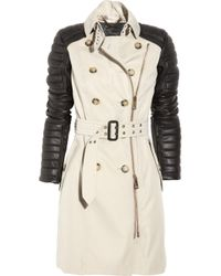 Burberry Prorsum | Natural Leather and Cotton Trench Coat | Lyst