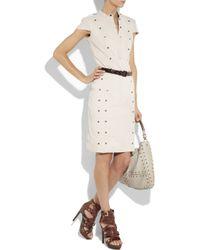 Burberry Prorsum Natural Rivet-embellished Stretch-linen Dress