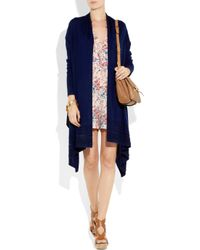 DKNY Blue Cozy Wool Beaded Wrap Cardigan