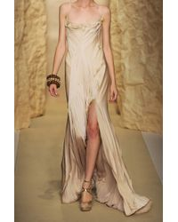 Donna Karan Natural Pleated Silk Satin-crepe Gown