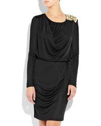 Emilio Pucci Black Embellished Satin-jersey Dress