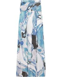 Emilio Pucci Blue Orchidee Printed Maxi Skirt