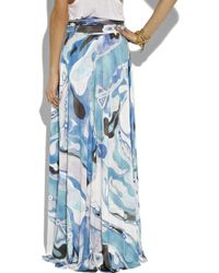 Emilio Pucci | Blue Orchidee Printed Maxi Skirt | Lyst