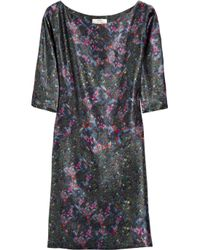 Erdem Black Zhanna Floralprint Silk Dress