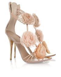 Giuseppe Zanotti - Natural Flower Appliquéd Leather Sandals - Lyst