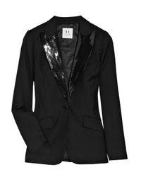 Halston | Black Sequin-embellished Wool Tuxedo Jacket | Lyst