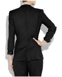 Halston Black Sequin-embellished Wool Tuxedo Jacket