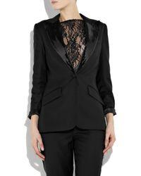 Halston - Black Sequin-embellished Wool Tuxedo Jacket - Lyst