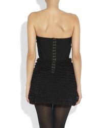 Haute Hippie Black Ruffled Strapless Mini Dress